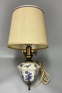 Vintage Porcelain Brass Single Light Sconce Fixture Wall Lamp W Shade Nice