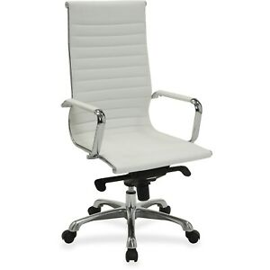 Lorell Hi back Exec Chair 24 3 8 x25 x47 White Leather 59502
