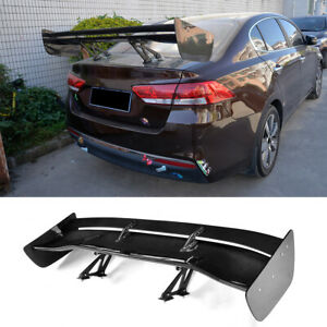 Universal Carbon Fiber Double deck Rear Spoiler Racing Lid Trunk Wing Factory