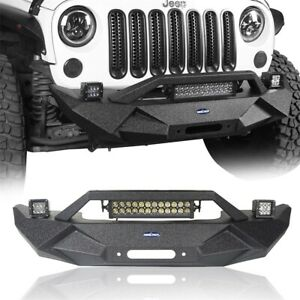 Textured Black Stubby Front Bumper Bar W Winch Plate For Jeep Wrangler Jk 07 18