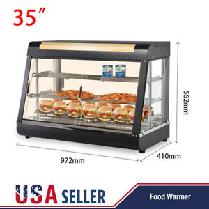 Commercial Food Warmer Court Heat Food Pizza Display Warmer Cabinet 35 Glass 3t