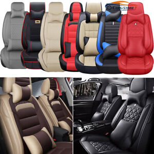 Luxury Pu Leather Car Seat Covers Front Rear Set Universal 5 Sit Auto Suv Truck