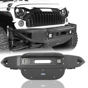 Fit Jeep Wrangler 07 18 Jk Stubby Tube Front Bumper W Led Light Winch Plate
