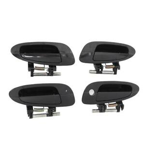 Door Handle Smooth Black Exterior Outside Outer 4 Kit For Nissan Altima 02 2006