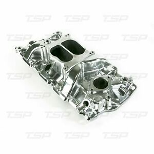 Sbc Chevy Carbureted Polished Dual Plane Intake Manifold Tsp82000
