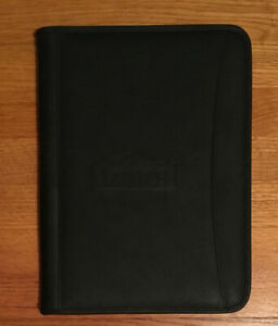 Leed s Black Faux Leather Portfolio Organizer Folder Zipper Case embossed lowe s
