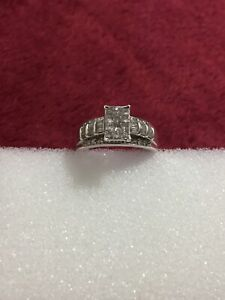 925 Sterling Silver Princess Cut Invisible Set Diamond Ring Scrap Or Wear Size 9