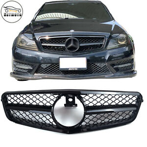 Amg Style All Black Grill Grille For Mercedes Benz W204 C250 C300 C350 2008 2013