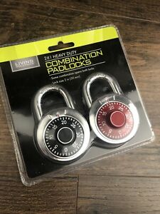 Combination Lock New Package Of 2 Padlocks Assorted Colors Lock Size 2