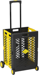 Livebest Rolling Mesh Folding Trolley Utility Shopping Cart Basket 4 Wheels