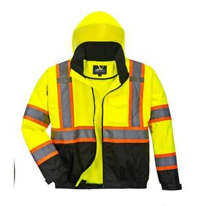 High Visibility Class 3 Two tone Yellow black Winter Bomber Jacket