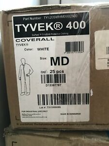 Dupont Disposable Tyvek Coveralls White Zipper 25 case Industrial