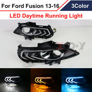 Pair Drl For Ford Fusion Mondeo 2013 16 Led Daytime Running Light Fog Lamp