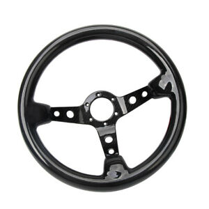 Hiwowsport 350mm Bolts Racing Car Steering Wheel Carbon Fiber 14 Black 6 Hole