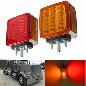 Double Stud Mount Truck Pedestal Fender Turn Signal Tail Lamps Fits Freightliner
