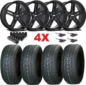 Gloss Black Wheels Rims 305 35 24 Tires Dub F 150 Navigator Expedition