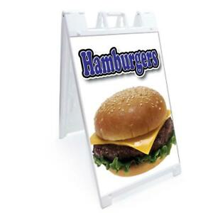 A frame Hamburger Sign With Graphics On Each Side 24 X 36 Heavy Duty