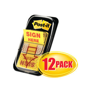 Post it Flags Sign Here 1 x1 3 4 12 pk Yellow