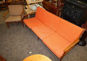 Vintage Eames Italy Mid Century Danish Modern Teak Slat Sofa Couch Chair Parisi