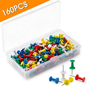 Wei Wei 160pcs Push Pins For Cork Board push Pins For Wall various Colors Push