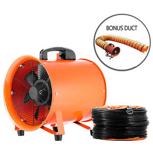 12 Portable Extractor Fan Blower 5m Duct Hose Ventilation Fume Rubber Feet