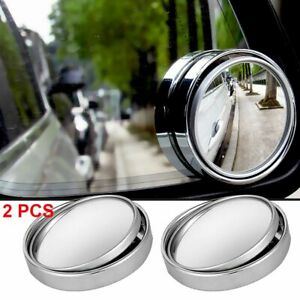 2pcs Car Wide Angle Round Convex Mirrors Hd Frameless Rearview Blind Spot Mirror