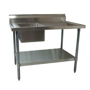 Bk Resources 60 X 30 Stainless Steel Prep Table With Left Side Sink