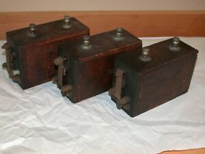 3 Antique Model T Ford Ignition Coils Wood Case Ford Script