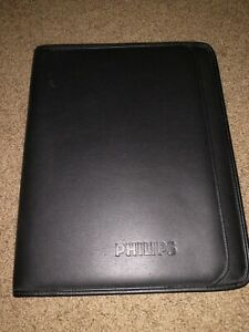 Genuine Leather Portfolio Padfolio Philips Branded By Leeds Black 12 5 X 9 5 In