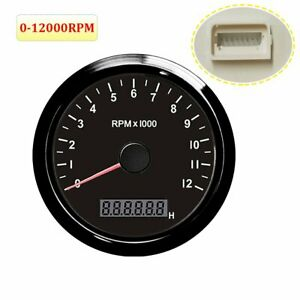 85mm 0 12000 Rpm Tachometer Lcd Hour Meter Universal For Car Motorcycle Marine