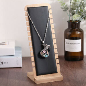 Jewelry Display Stand Necklace Earring Rings Organizer Black Leather