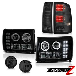 07 13 Gmc Sierra 1500 Denali Smoked Fog Lamps Taillights Headlamps Smd Halo Ring