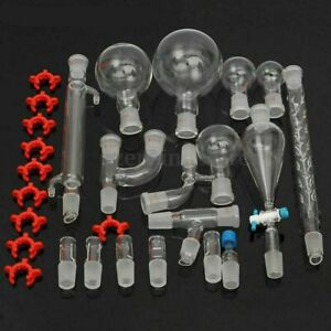 Chemical Glassware Kit Lab Glass Set With Ground Joints 24 29 29pcs New