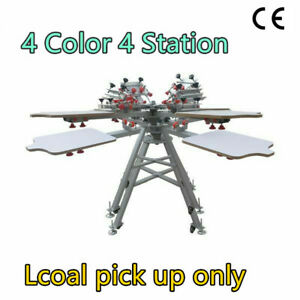 Us 4 Color 4 Station Silk Screen Printing Press Machine With Micro Registration