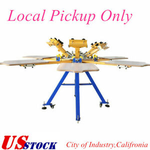 Us Stock 6 Color 6 Station Screen Printing Machine Press T shirt Printer Carouse