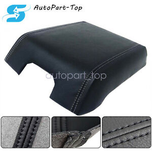 For 2015 2019 Ford F150 Black Leather Armrest Center Console Lid Cover