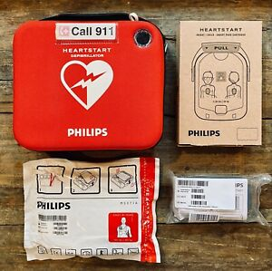 Philips M5066a Heartstart Onsite Aed Defibrillator W extra Accessories