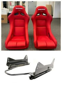 Pair 2 Bride Vios Red Cloth Frp Racing Pair Seats With Sliders Side Mounts