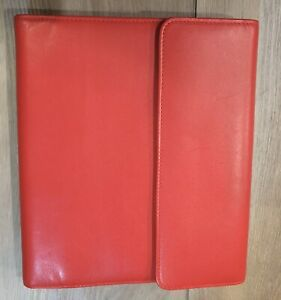 Levenger Red Leather Portfolio Notebook Cover Organizer With Pocket