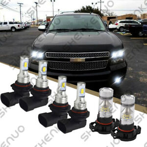 For Chevy Suburban Tahoe 2007 14 6x Led Headlight Fog Light Bulbs Combo Kit