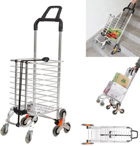 Livebest Collapsible Shopping Cart Swivel Wheels Stair Climber Utility Trolley