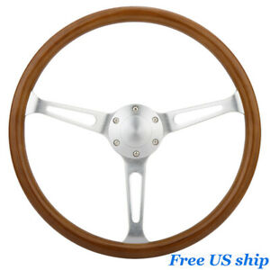 Universal 15 Classic Wooden Steering Wheel Grain Silver Brushed Spoke Horn