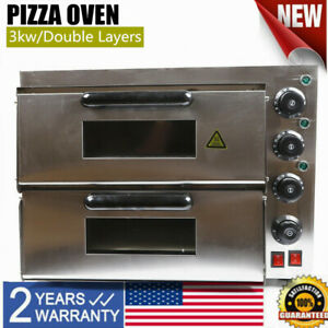 Electric 3000w Pizza Oven Commercial Double Deck Bake Oven Ceramic Stone Toaster