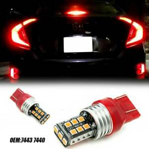 2x Red 7443 7440 Strobe Led Flashing Blinking Brake Light Tail Stop Parking Bulb
