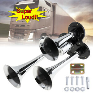 12v 178db Car Silver Super Loud Three Trumpet Electronically Controlled Air Horn