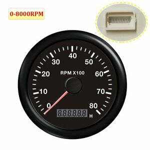 85mm 0 8000 Rpm Tachometer With Over Rpm Buzzer Alarm For Car Motorcycle Marine