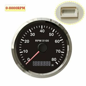 85mm 0 8000 Rpm Tachometer Over Rpm Buzzer Alarm For Car Boat Motorcycle Marine