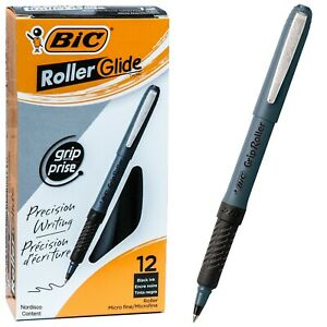 Bic Grip Roller Micro Grem11 31196 Black Ink 0 5mm Micro Fine Box Of 12 Pens