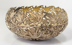 Antique Repousse Silver Floral Decorated Chinese Indian South East Asian Bowl
