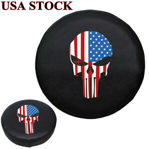 16 Spare Tire Cover Skull Usa Flag Tyre Wheel Protect For Auto Jeep Liberty Crv